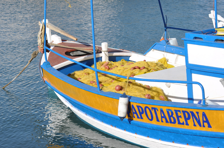 Boot-blau-weiss-gelb-Kreta-